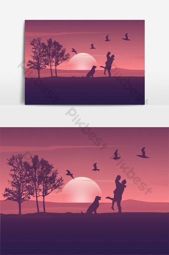 ilustración de silueta de pareja de paisaje romántico Modelo AI