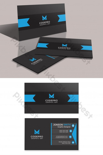 Carte de visite minimaliste bleu de style foncé Modèle PSD