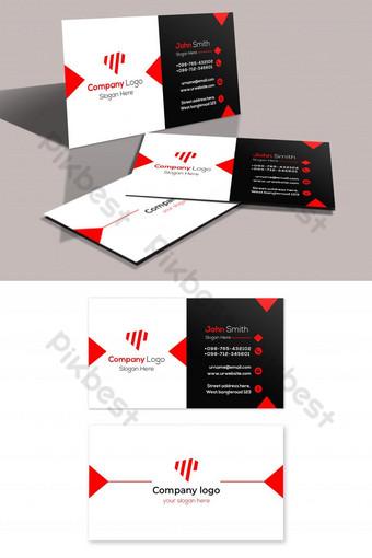 Carte de visite minimaliste rouge et noir Modèle PSD
