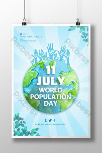 간단한 지구 배경 세계 인구의 날 포스터 템플릿 PSD