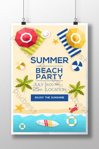 plantilla de cartel de fiesta de playa de verano Modelo AI