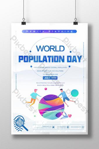 흰색 간단한 세계 인구의 날 포스터 템플릿 PSD