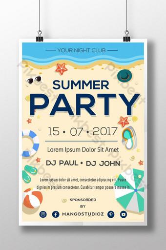Plantilla de póster de fiesta de verano en la playa para hotel motel Modelo AI