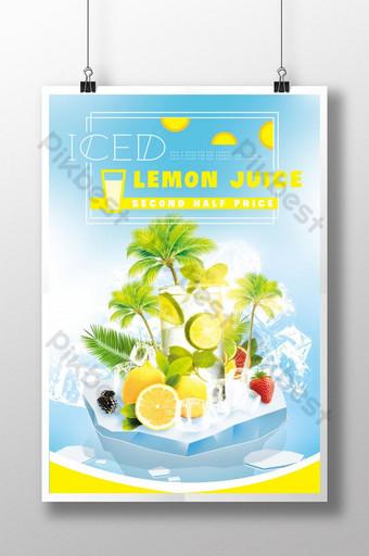 Iced lemonade drink poster Template PSD