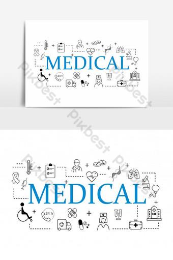 medical element flat line set icons illustration Template AI