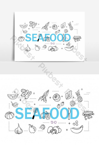 Simple Set of Sea Food Related Vector Line Icons. Template AI