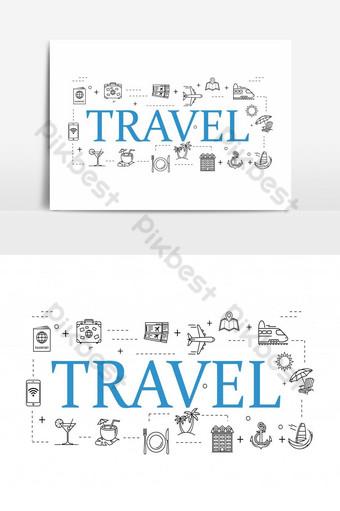iconos de viaje simples establecen iconos de viaje universales para usar en la interfaz de usuario web y móvil Modelo AI
