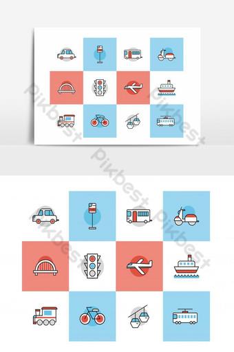 iconos de línea plana de viaje establecen línea con color Modelo AI