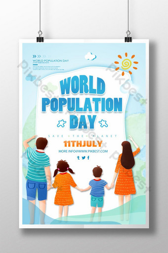 세계 인구의 날 홍보 포스터 템플릿 PSD