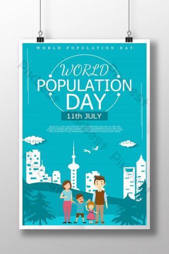 신선한 마이크로 차원 세계 인구의 날 포스터 템플릿 PSD