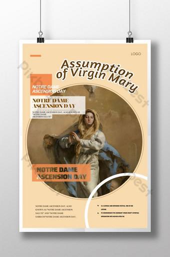 poster kenaikan perawan katolik Templat PSD