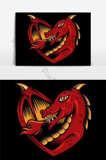 elemento gráfico de amor de dragón Elementos graficos Modelo EPS