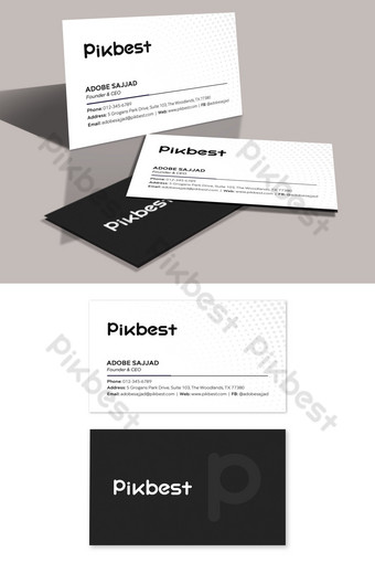Modèle de carte de visite minimaliste élégant noir et blanc Modèle PSD