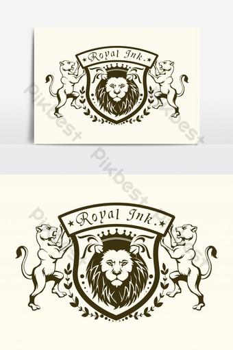 الحبر الملكي الأسد شعار عنصر الرسم صور PNG قالب PSD