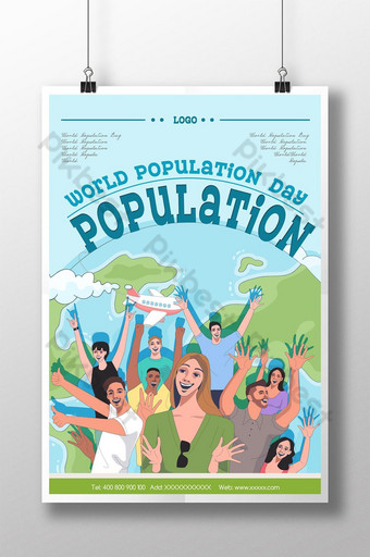 해피 축하 손으로 그린 세계 인구의 날 포스터 템플릿 PSD