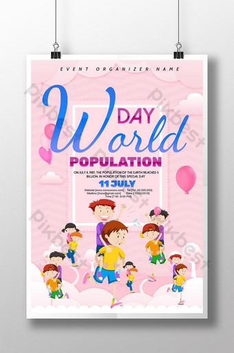 신선하고 아름다운 만화 세계 인구의 날 포스터 템플릿 PSD