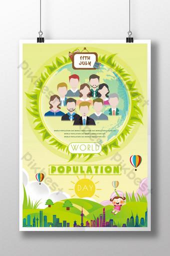 اليوم العالمي للسكان ملصق صورة الكرتون قالب PSD
