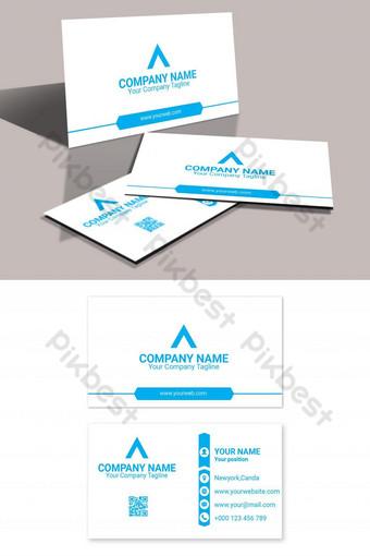plantilla eps de tarjeta de visita corporativa de tema azul Modelo AI