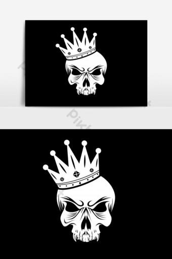 elemento gráfico del vector del logotipo del rey del cráneo Elementos graficos Modelo EPS