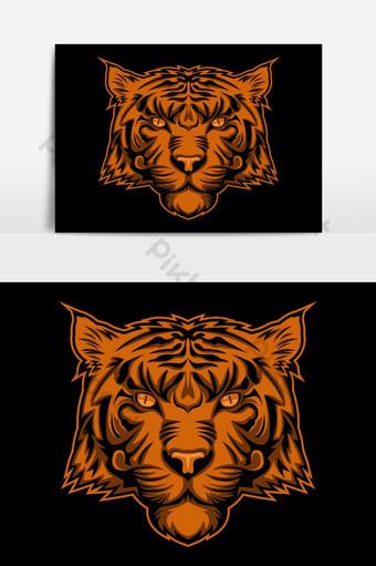 elemento gráfico de vector de logotipo de cara dorada de tigre Elementos graficos Modelo EPS