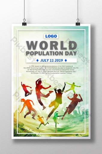 인간의 빛나는 다채로운 다채로운 세계 인구의 날 프로모션 포스터 템플릿 PSD