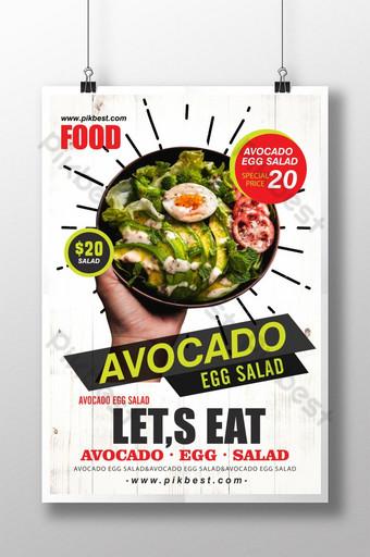 diseño de cartel de comida de moda de estilo simple Modelo PSD