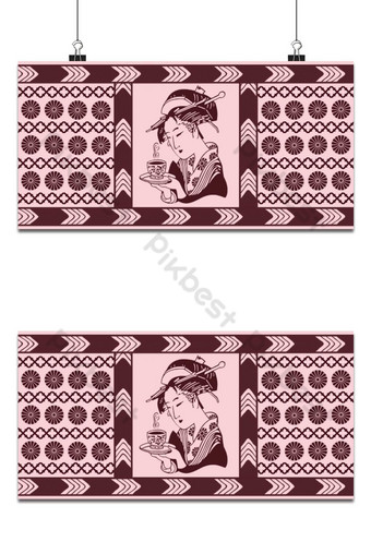 Fondo de patrón gráfico vectorial kabuki rojo japonés Fondos Modelo PSD