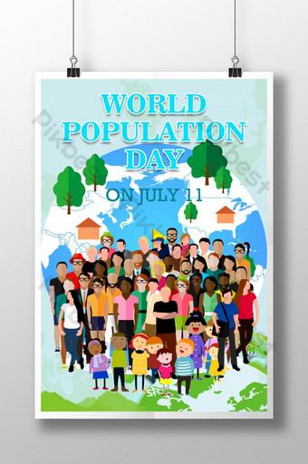 그림 스타일 세계 인구의 날 포스터 템플릿 PSD