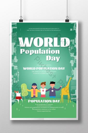 만화 손으로 그린 만화 세계 인구의 날 포스터 템플릿 PSD