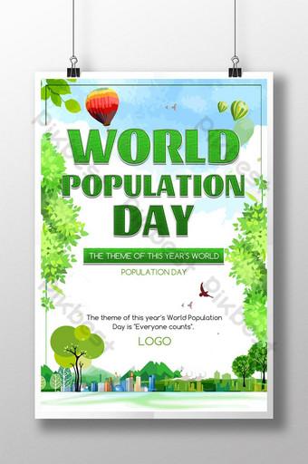 신선한 녹색 자연 세계 인구의 날 포스터 템플릿 PSD