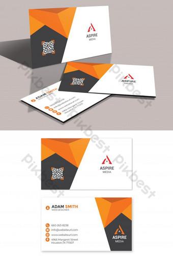 Carte de visite minimaliste orange d'entreprise Modèle PSD