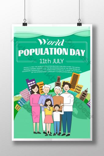 만화 스타일 세계 인구의 날 포스터 템플릿 PSD