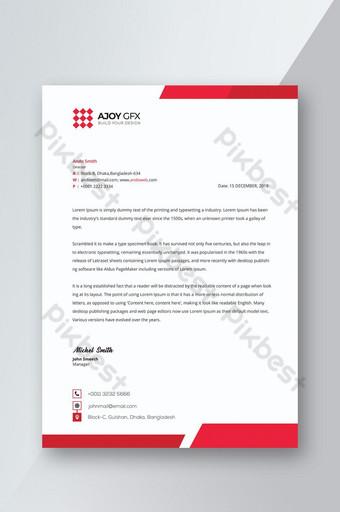 Modèle de Papier à en-tête de société corporative rouge Modèle PSD