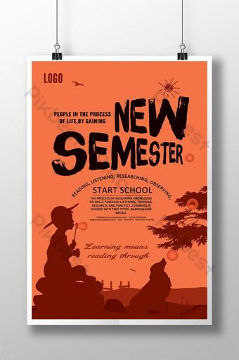 Cartoon silhouette landscape start season poster Template PSD