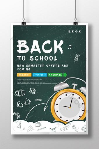 cartel de la temporada escolar de dibujos animados creativos Modelo PSD