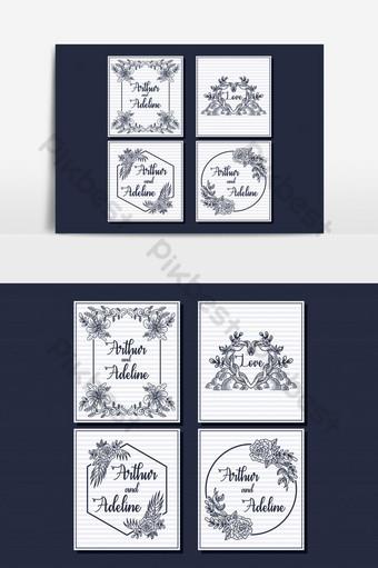 Élément graphique de vecteur de carte de mariage classique art en ligne Éléments graphiques Modèle EPS