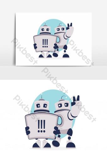 elemento gráfico de vector de diseño de personajes de robot Elementos graficos Modelo AI