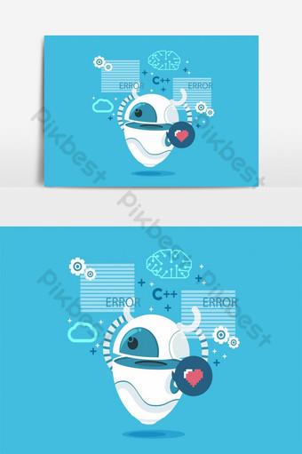 elemento gráfico de vector de diseño de personaje de robot Elementos graficos Modelo AI