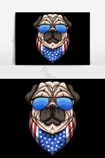 elemento gráfico de vector de anteojos de perro pug Elementos graficos Modelo EPS