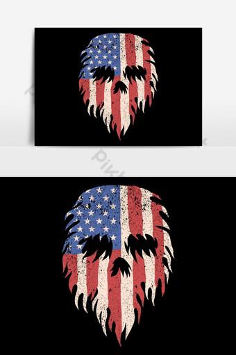 elemento gráfico del vector de la bandera rasgada de los eeuu del cráneo Elementos graficos Modelo EPS