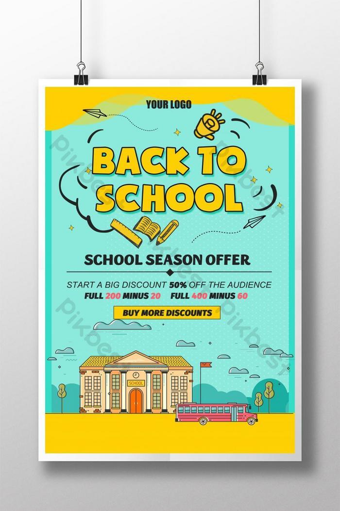 poster promosi sekolah dilukis dengan tangan
