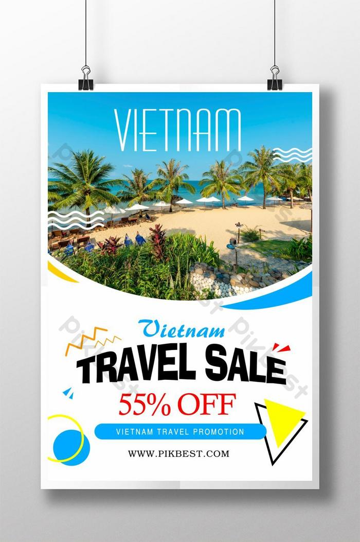 thiết kế poster khuyến mãi giảm giá du lịch việt nam