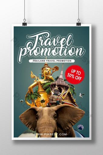 desain poster promosi perjalanan thailand Templat PSD