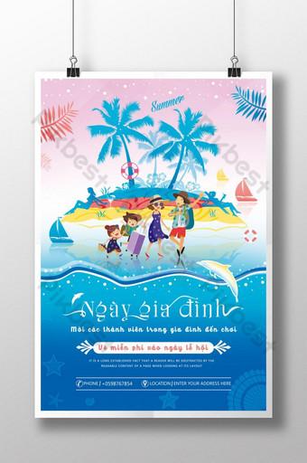 poster ng kaganapan pamilya paglalakbay sa isla Template PSD