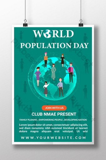 Modern Population Day Poster Template for Tech Company Template AI