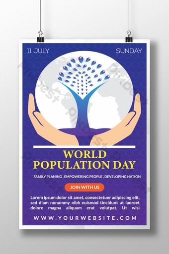 세계 인구의 날 포스터 디자인 템플릿 AI