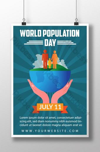 세계 인구의 날 포스터 템플릿 디자인 템플릿 AI