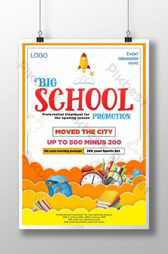cartel de la temporada escolar de estilo de corte de papel de dibujos Modelo PSD
