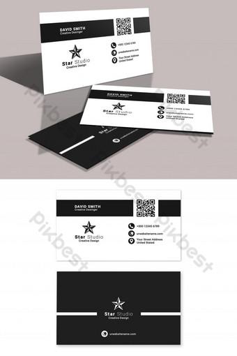 Carte de visite d'entreprise propre en noir et blanc Modèle PSD