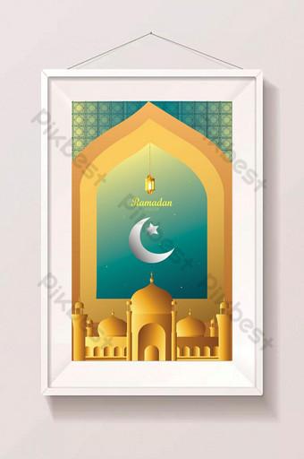 Conception de calligraphie arabe pour le Ramadan avec des lanternes et des arts de la découpe de papier Illustration Modèle EPS